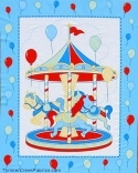 Carousel Merry Go Round Balloons Blue Fabric Panel <font color=r
