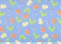 Baby Dinos Nursery Blue Orange Lime Toss Fabric