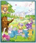 Flavia Birthday Owl Talking Tree Quilt Fabric Panel <font color=