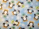 "Fuzzy Penguins Snowflakes 1yd 27"" Flannel"