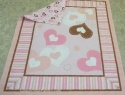 Hearts Pink Cocoa Peach Pre-Quilted Nursery Fabric Panel