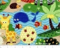Jungle Monkey Elephant Multi Tossed Pre-Quilted Fabric 34""