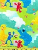 Sesame Street Elmo Big Bird Tossed Fabric