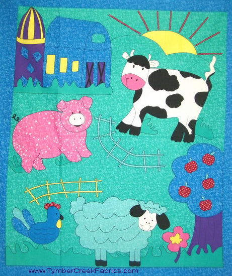 Farm Animals Cow Pig Sheep Fabric Panel