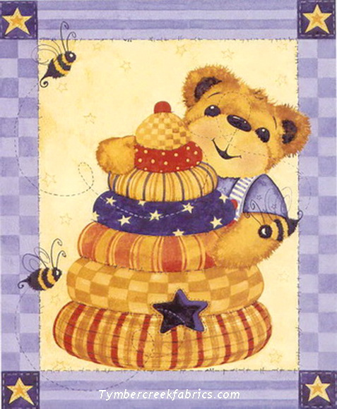 Beehive Honey Bear Quilt Fabric Panel