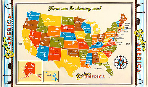 Explore America State Capitols Map Fabric-Cream