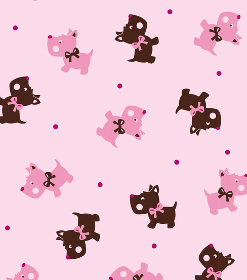 Black Pink Scotties Flannel