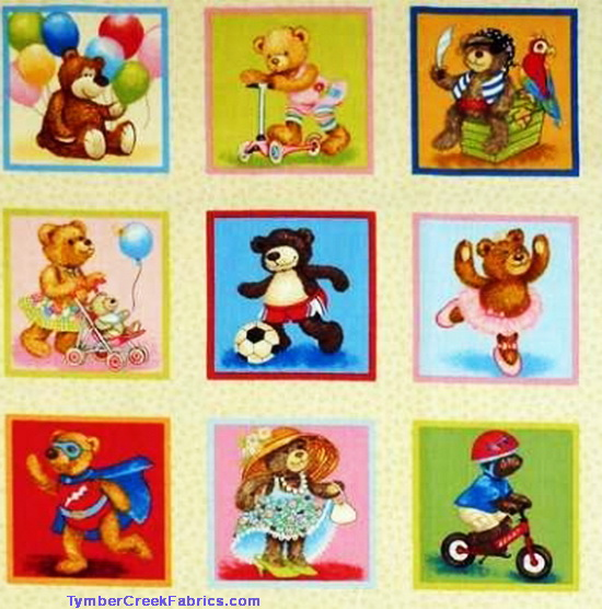 Teddy Bears At Play Patches Fabric