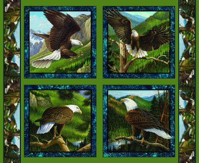 Flying High Wild Wings Eagles Fabric Pillow Panel