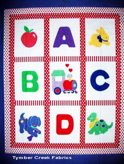 ABC- Apple -Dino Fabric Panel