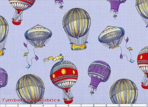 Hot Air Balloons Blue Sky Fabric