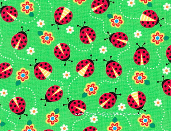 LadyBugs All a Buzz Green Fabric