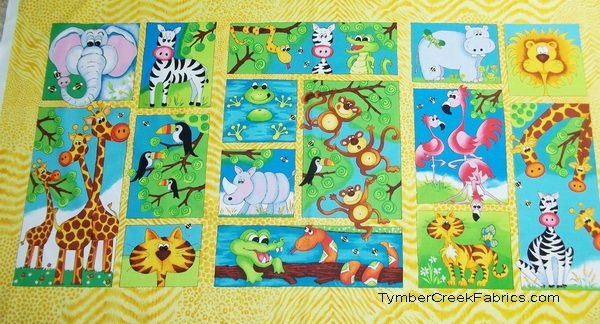 Alligator Giraffe Monkey Tales Fabric Panel