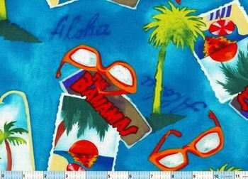 Aloha Bahamas Palm Trees Scenic Fabric