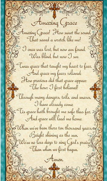 "Amazing Grace Inspiring Hymn 24"" Fabric Panel"