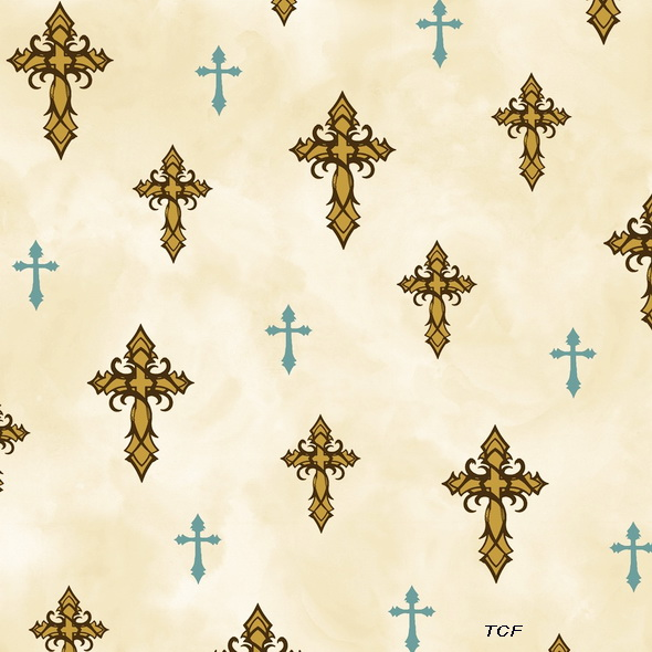 Amazing Grace Crosses Cream Fabric