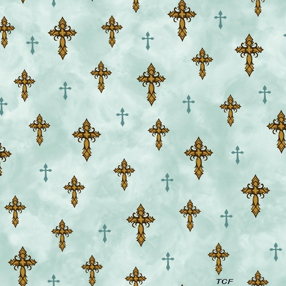 Amazing Grace Crosses Teal Fabric