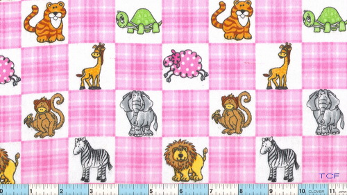 Monkey Elephant Giraffe Pink White Check Flannel
