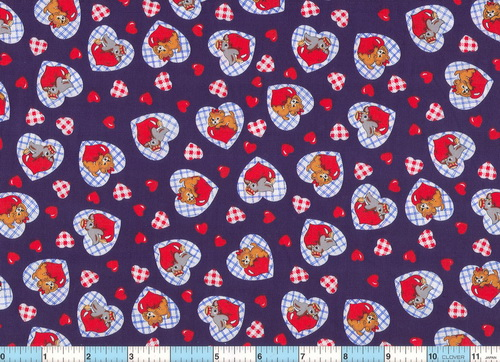 "Baby Animals Calico Hearts 58"" wide Fabric"