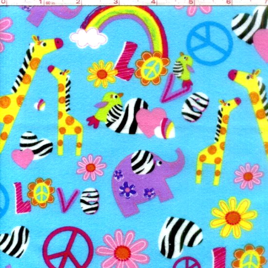 Animal Rainbow Giraffe Love Flannel <font color=Red> SALE