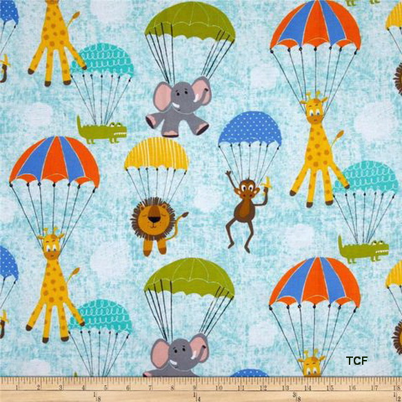 Animals Hanging Out Blue Fabric