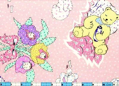 Baby Flowers Bouquet Pillow Bear Pink Fabric