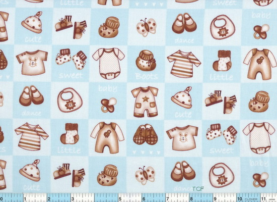 Baby Boy Cute Things Blocks Blue 2yds10""