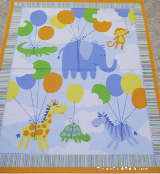 Safari Elephants Gators Giraffe Balloons Quilt/Wall Panel