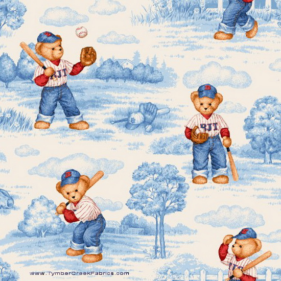 Blue Jean Teddy Batter Up Blue Toile Fabric