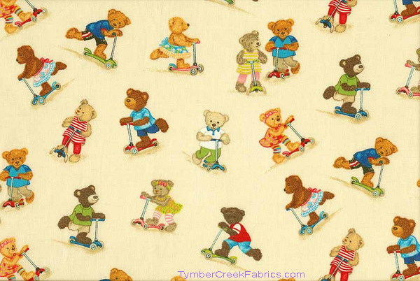 Teddy Bears Riding Scooters Fabric