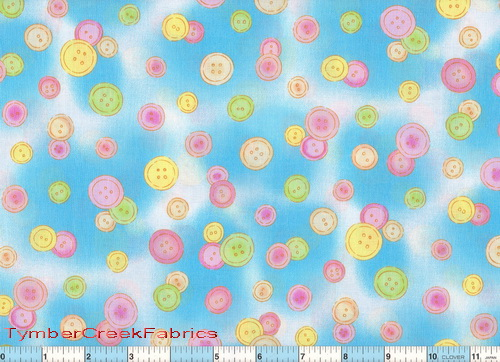 Bedtime Bear Pastel Buttons Fabric