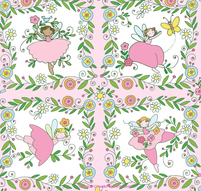 Believe Fairy Fairies 4 Squares Pink Fabric