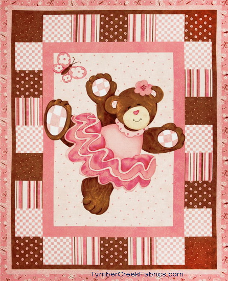 Ballerina Belinda Bear Quilt Wall Fabric Panel