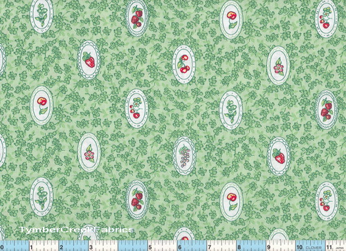 Cameo Cherry Grapes on Green Fabric