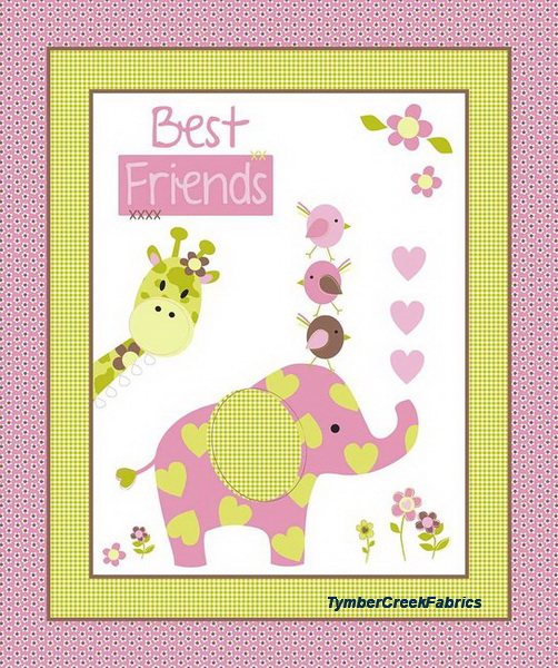 Best Friends Elephant Fabric Nursery Panel