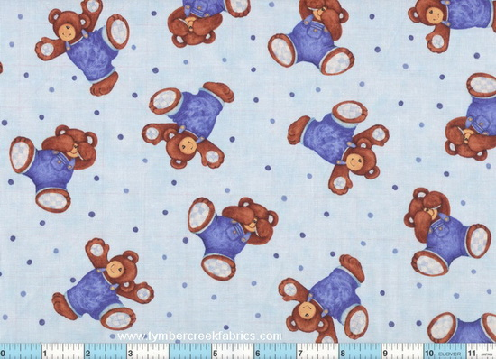 Billy Bear Tumbles Blue Tossed Fabric <font color=Red> SALE