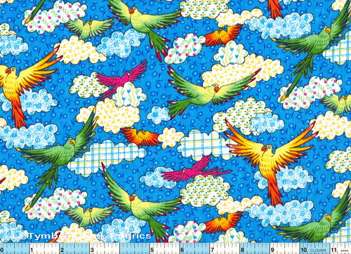 Birds Yellow Green Check Clouds Fabric