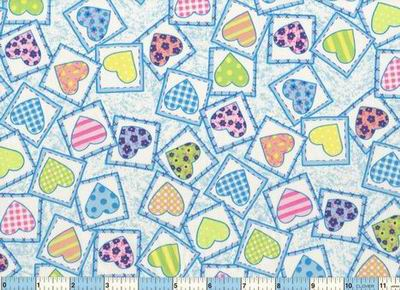 Pastel Heart Patches Blue Fabric