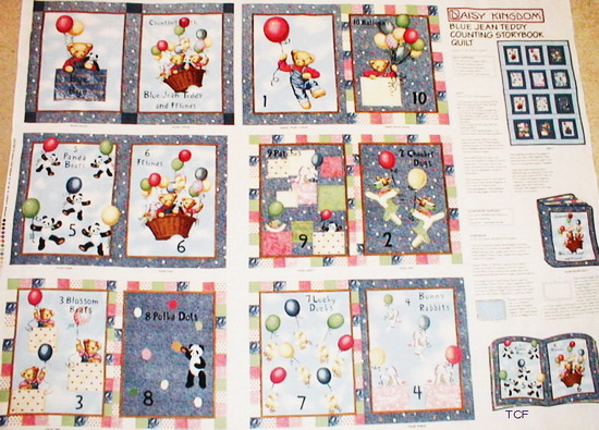 Blue Jean Teddy Counting Fabric Book Panel