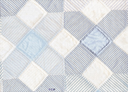 Blue White X Quilt Fabric Blocks