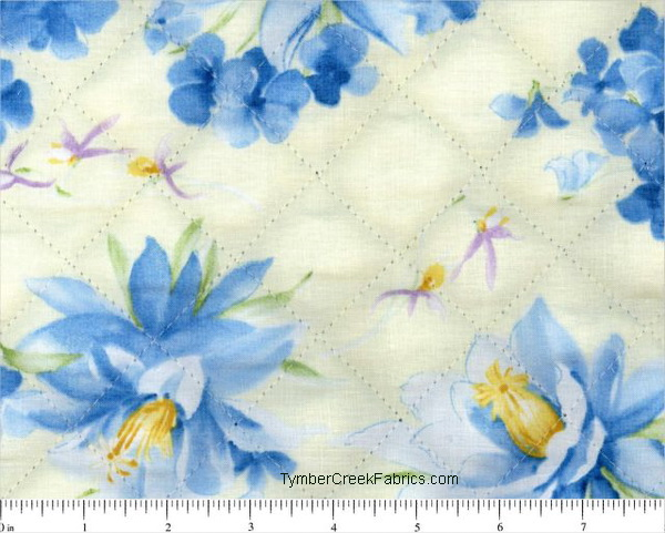 Charming Blue Floral Pre-Quilted Fabric <font color=Red> SALE