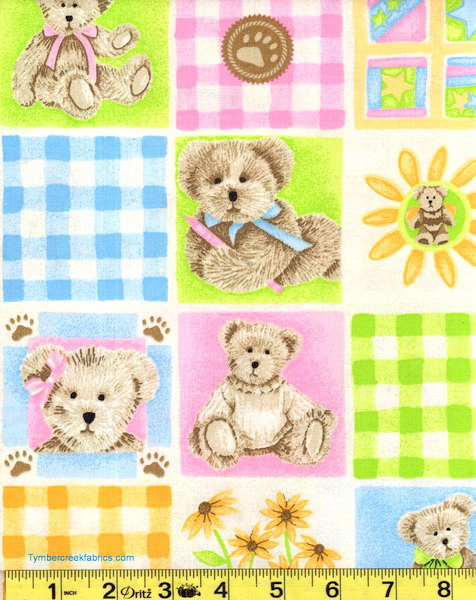 Boyds Bears Gingham Pastel Blocks Fabric <font color=Red> SALE