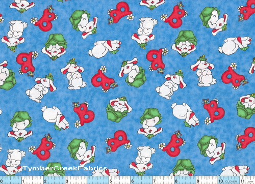 B is for Buggles Whimsical Bunny Fabric <font color=Red> SALE