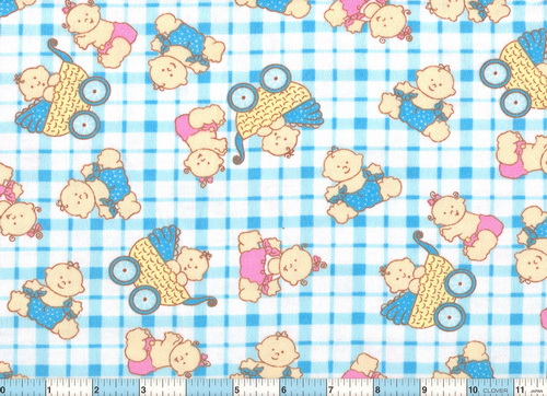 Baby Buggy Blue Check Flannel