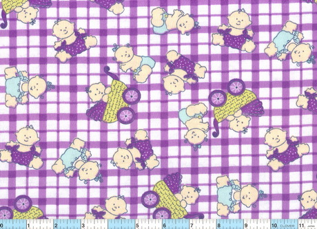 Baby Buggy Purple Check 2 pcs Flannel