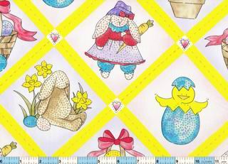 Chicks Bunnies Glitter Easter Fabric