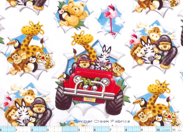 Jungle Animals Jeep Fun Fabric