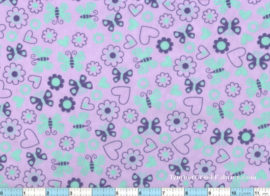Butterfly Love Purple Lavender Aqua Flannel