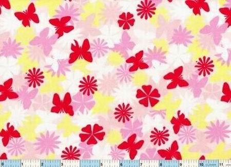 Butterfly Butterflies Red Yellow Flannel