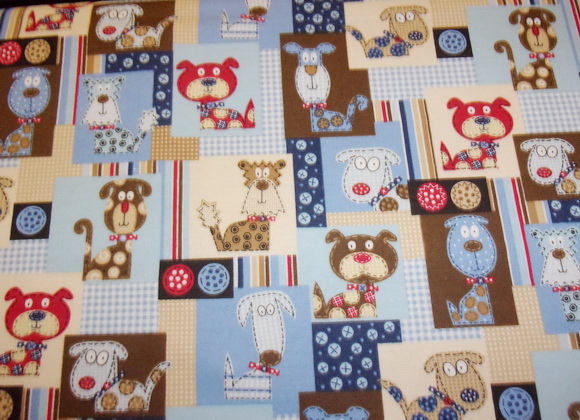 Calico Fun Dogs 1yd Flannel